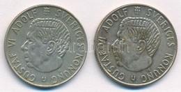 Svédország 1965U-1967U 1K Ag (2xklf) 'VI. Gusztáv' T:2-,3  Patina Sweden 1965U-1967U 1 Krona Ag (2xdiff) 'Gustaf VI.' C: - Coins & Banknotes