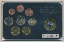 Szlovénia 2007. 1c-2E (8xklf) Forgalmi Sor, Műanyag Tokban + 2003. 1E Jelzett Próbaveret T:1 Slovenia 2007. 1 Cent - 2 E - Coins & Banknotes