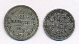 Vegyes: Orosz Birodalom 1870. 20k Ag 'II. Miklós' + Német Birodalom 1906A 1/2M Ag T:2,2- Mixed: Russian Empire 1870. 20  - Coins & Banknotes