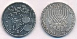 NSZK 1974F 5M Ag '25 éves Az Alkotmány' + 1985F 5M Cu-Ni 'A Zene Európai éve' T:1-,2 FRG 1974F 5 Mark Ag '25th Anniversa - Coins & Banknotes