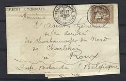 Lettre Publicitaire Du Crédit Lyonnais Affranchis Avec Timbre Perforé En Triangle Plein ( Avril 1877 ) - Perforés