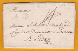 1784 - Marque Postale RHEIMS, Reims, Marne Sur Lettre Vers Sedan, Ardennes - Règne De Louis XVI - 1701-1800: Precursors XVIII