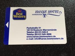 Hotelkarte Room Key Keycard Clef De Hotel Tarjeta Hotel  IBEST WESTERN HANSE ROSTOCK-WARNEMÜNDE  With Casino On Back - Telefonkarten