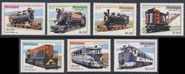 Nicaragua 1981 Mi 2231 /7 YT 1169 /74 SG 2318 /24 ** Steam + Diesel Locomotives + Railbus - USA, Germany, Japan - Nicaragua