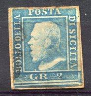 Z1517 ITALIA ASI SICILIA 1859, 2 Gr., Usato Su Piccolo Frammento, Sassone 6, I Tavola, Valore Catalogo € 265, 3 Margini - Sicilia