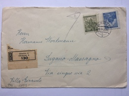BOHEMIA & MORAVIA 1942 Cover Registered Olmutz To Lugano Massagno Switzerland Censor Tap And Cachet To Rear - Covers & Documents