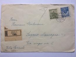 BOHEMIA & MORAVIA 1942 Cover Registered Olmutz To Lugano Massagno Switzerland Censor Tap And Cachet To Rear - Bohemia & Moravia