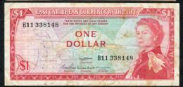 E.C.S. P13a2 1 DOLLAR 1965 Signature 2  #B11 AVF NO P.h. - Oostelijke Caraïben