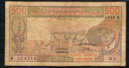 W.A.S. SENEGAL P705Kb 500 FRANCS 1980  FINE NO P.h. - West African States