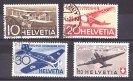 Suisse - 1944 - PA N° 36 à 39 - Oblitérés (sauf 39 Neuf *) - 25 Ans Poste Aérienne Nationale - Used Stamps