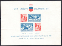 LIECHTENSTEIN - Michel - 1936 - BL 2 - (*) - Blocs & Feuillets
