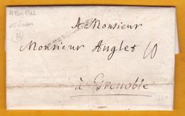 1742 - Marque Postale DE VERSAILLES, Seine Et Oise Vers Grenoble, Isère - Taxe 10 - Règne De Louis XV - 1701-1800: Précurseurs XVIII