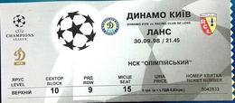 Football Tickets -  F.C.  DINAMO  Kijov V. Racing  Club  De  LENS , 1998 , EURO - CUP. - Tickets D'entrée