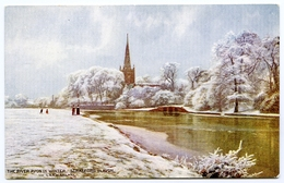 ADVERTISING : RAILWAY OFFICIAL : LONDON & NORTH WESTERN : STRATFORD UPON AVON : THE RIVER AVON IN WINTER - Advertising