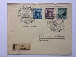 BOHEMIA & MORAVIA 1941 Cover Registered Prague To Sebinitz Germany With Prague Handstamps - Bohemia & Moravia