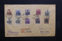 POLOGNE - Enveloppe En Recommandé De Warschau En 1919 , Affranchissement Plaisant - L 32379 - Covers & Documents