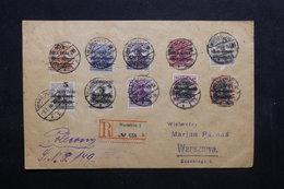 POLOGNE - Enveloppe En Recommandé De Warschau En 1919 , Affranchissement Plaisant - L 32380 - Lettres & Documents