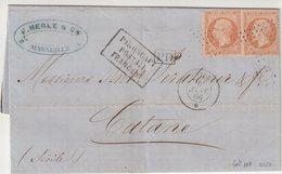 "FRANCE : MARITIME .N° 23 . 2 EX . . OBL ANCRE . ET CAD PAQUEBOT "" PHASE "" . 1866 . - Marcofilie (Brieven)"