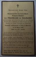 Renescure - Herly - Biarritz : Image Mortuaire VAN PRADELLES DE PALMAERT Emmanuel (X DE BOUTEVILLE Yvonne) - Décès