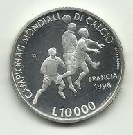 1998 - San Marino 10.000 Lire Argento - Mondiali Di Calcio - San Marino