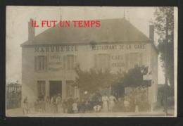 21 POUILLY EN AUXOIS - Avenue De La Gare - Restaurant De La Gare - Café VENTALON - Marbrerie - CPA PHOTO - RARE - France