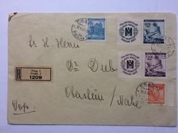 BOHEMIA & MORAVIA 1941 Registered Cover Prague To Oberstein - Bohemia & Moravia
