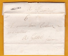 1740 - Marque Postale RHEIMS, Reims, Marne, France Vers Gand, Gent, Flandre, Pays Bas Espagnols, Belgique - Marcofilia (sobres)