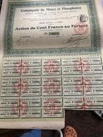 Compagnie De Mines Et Phosphates (cent Francs Au Porteur 1914) - Industrie