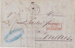 "FRANCE : MARITIME . DE CONSTANTINOPLE . POUR LONDRES . TAXEE PAR PAQUEBOT "" THABOR "" . B . 1855 . - Postmark Collection (Covers)"