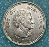 """India 50 Paise, 1985 Death Of Indira Gandhi Mintmark """"♦"""" - Bombay -1256 - Inde"""