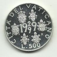 1999 - Vaticano 500 Lire Argento - 70° Dello Stato - Vaticano