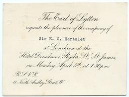 INVITATION TO LUNCHEON : EARL OF LYTTON / SIR EDWARD HERTSLET - HOTEL DIEUDONNE, RYDER ST., ST JAMES, LONDON - Old Paper