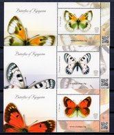 Kyrgyzstan(KEP) 2019 Butterflies 3 S/S** - Kirgizië