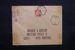 FRANCE - Enveloppe En Recommandé De Cannes En 1929 , Affranchissement Caisse D 'amortissement - L 32392 - 1921-1960: Modern Tijdperk