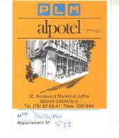 P.L.M.  Alpotel   Grenoble   Carte De Visite Ouvrante Avec Plan D'accès à L'hötel - Visitenkarten