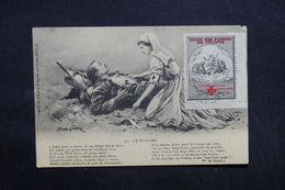 FRANCE - Vignette Croix Rouge Sur Carte Postale  De La Croix Rouge - L 32397 - Commemorative Labels