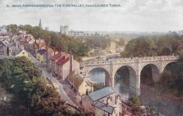 CARTE POSTALE ORIGINALE ANCIENNE COULEUR : KNARESBOROUGH THE NIDD VALLEY FROM CHURCH TOWER YORKSHIRE  ANGLETERRE - Angleterre