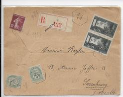 """1937 - ENVELOPPE Avec RECOMMANDE De ROUBAIX (NORD) Avec CACHET HEXAGONAL RECETTE AUXILIAIRE """"D""""=> SARREBOURG - Marcofilie (Brieven)"""