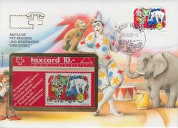SUISSE - PHONE CARD * RARE *** TÉLÉCARTE & TIMBRE - CIRQUE *** - Switzerland