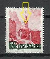 SAN MARINO 1957 Michel 562 ERROR Abart Swifted Red Print MNH - Saint-Marin