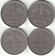 Germany Collection Of 4x 1 Mark Coins 1954-1957 All Listed & Different - 1 Mark