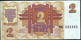 LATVIA - 2 Rubli 1992 {Latvijas Banka} AU P.36 - Letland