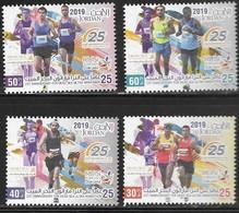 JORDAN, 2019,RUNNING, MARATHON, 25th ANNIVERSARY OF DEAD SEA ULTRA MARATHON,4v - Stamps