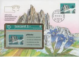 SUISSE - PHONE CARD * RARE *** TÉLÉCARTE & TIMBRE - PHILSWISS 93/8 *** - Schweiz