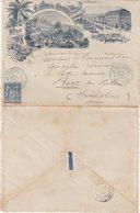 """FRANCE : LETTRE ET COURRIER . A ENTETE DU Gd HOTEL DE PARIS . """" LE BOURBOULE """" . 1898 . - Postmark Collection (Covers)"""
