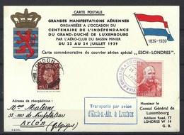 """Carte Commémorative Du Courrier Aérien Spécial """" Esch - Londres """" En 1939, Affranchissement Mixte - Covers & Documents"""
