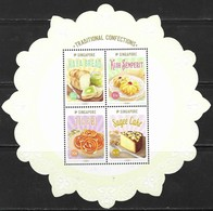 SINGAPORE, 2019, MNH, FOOD, SWEETS, CONFECTIONS, DESSERTS, SPECIAL COLLECTOR'S SHEET EMBOSSED - Food