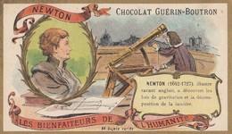 CHROMO  ) CHOCOLAT GUERIN BOUTRON Les Bienfaiteurs De L Humanité( Newton Savant Anglais) (6x10.5) - Guérin-Boutron