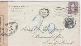 Etats Unis Lettre Taxée En Suisse 1918 - Postal History