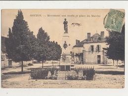 23 GOUZON MONUMENT AUX MORTS ET PLACE DU MARCHE CPA BON ETAT - France